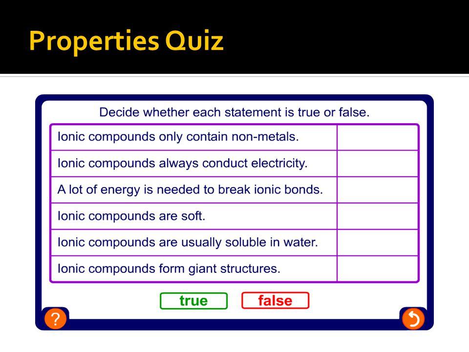 Properties Quiz