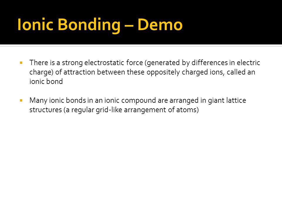 Ionic Bonding – Demo
