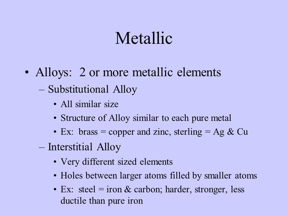 Metallic Alloys: 2 or more metallic elements Substitutional Alloy