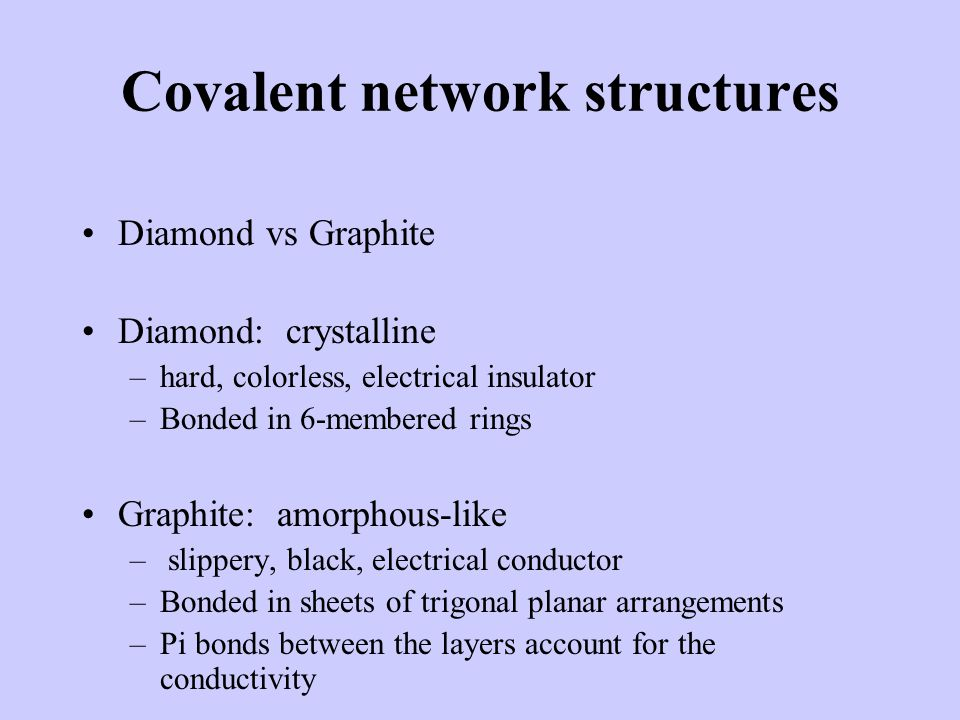 Covalent network structures