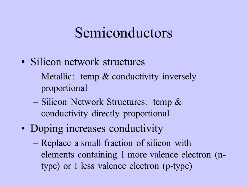 Semiconductors Silicon network structures