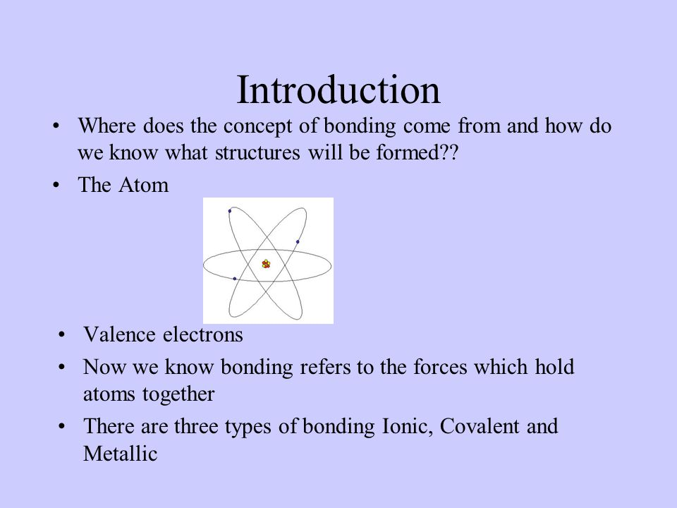 Introduction Where does the concept of bonding come from and how do we know what structures will be formed