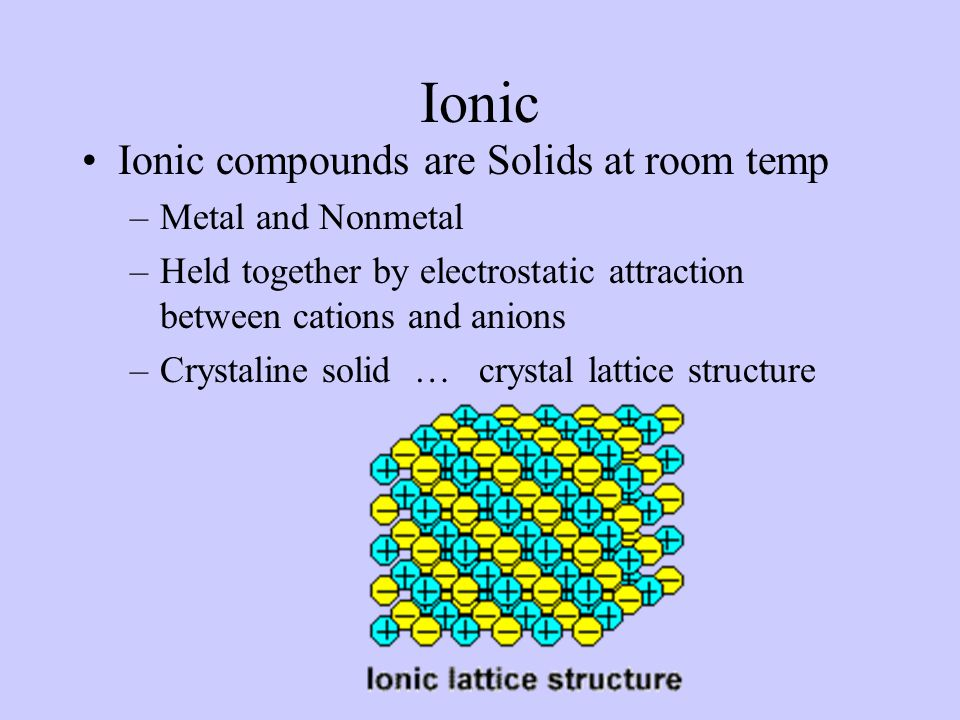 Ionic Ionic compounds are Solids at room temp Metal and Nonmetal