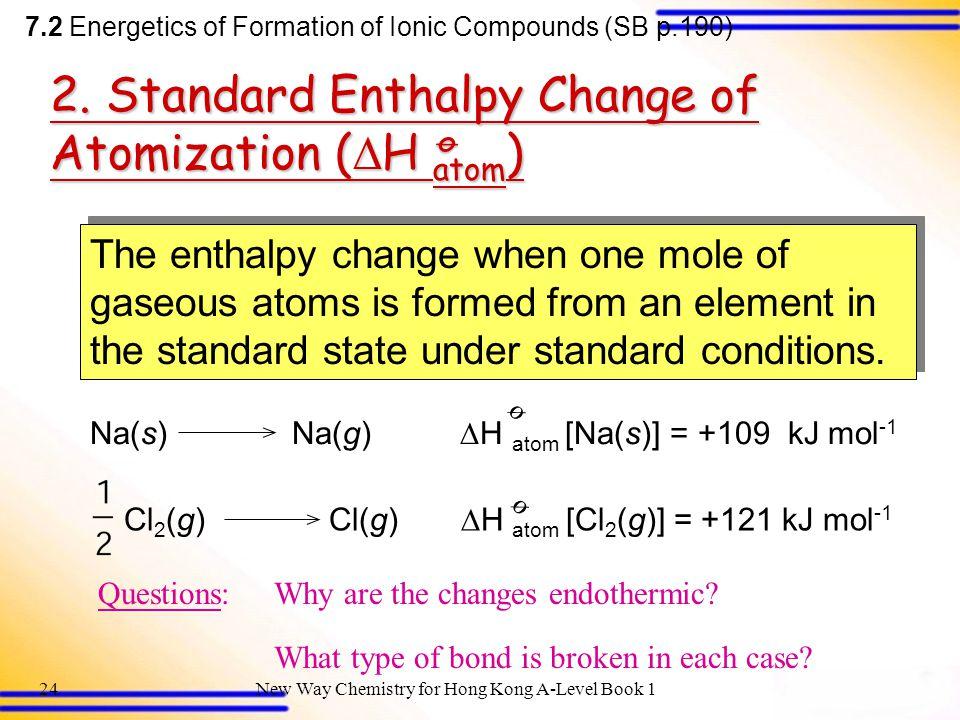 2. Standard Enthalpy Change of Atomization (H atom) ø