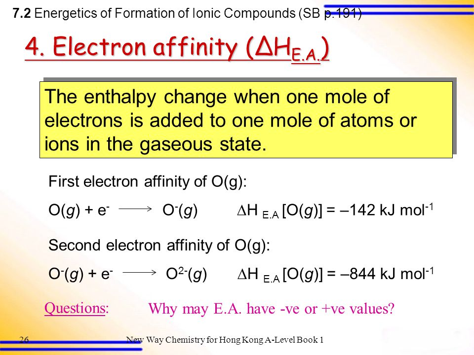 4. Electron affinity (ΔHE.A.)