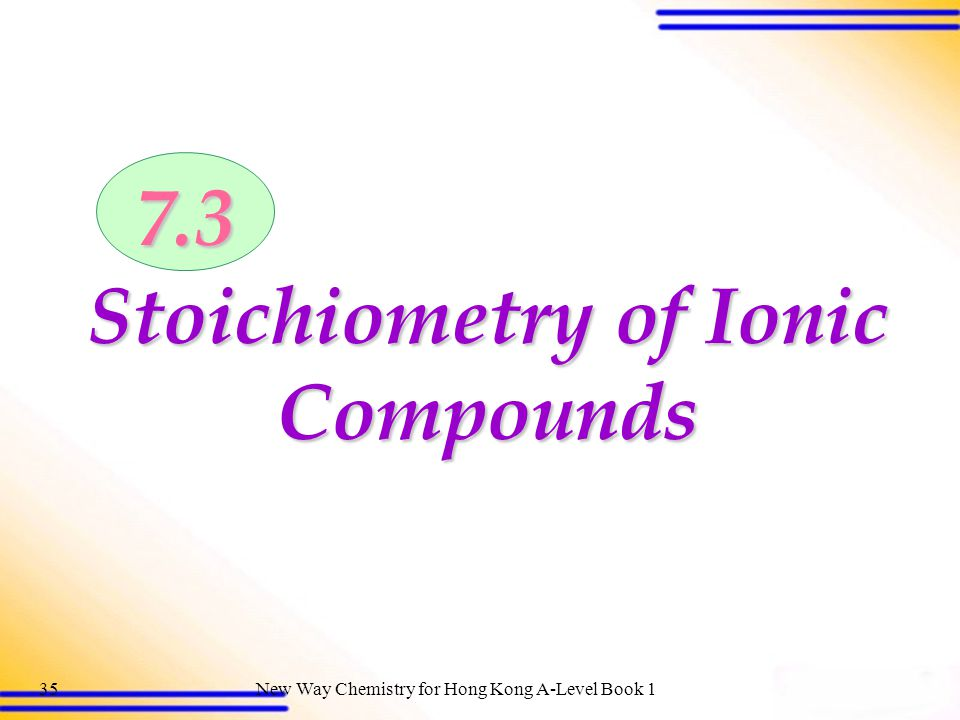 Stoichiometry of Ionic Compounds