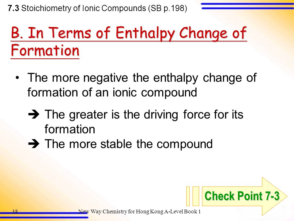B. In Terms of Enthalpy Change of Formation