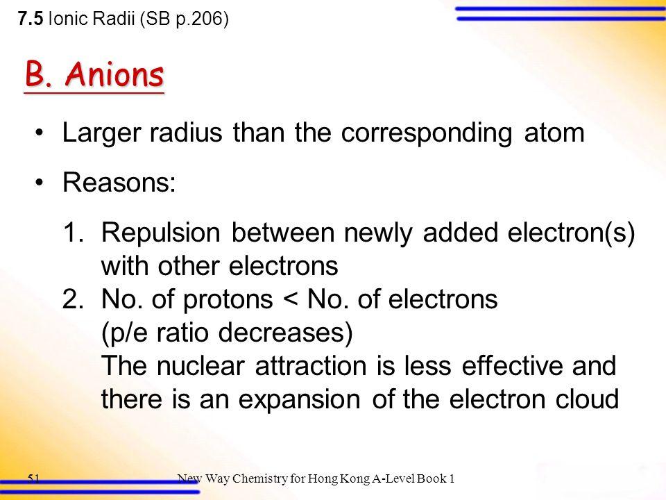 B. Anions Larger radius than the corresponding atom Reasons: