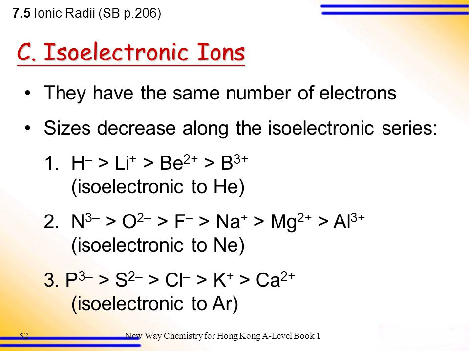 C. Isoelectronic Ions They have the same number of electrons