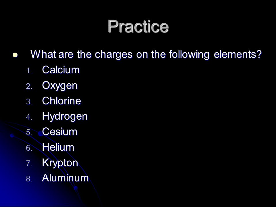 Practice What are the charges on the following elements Calcium