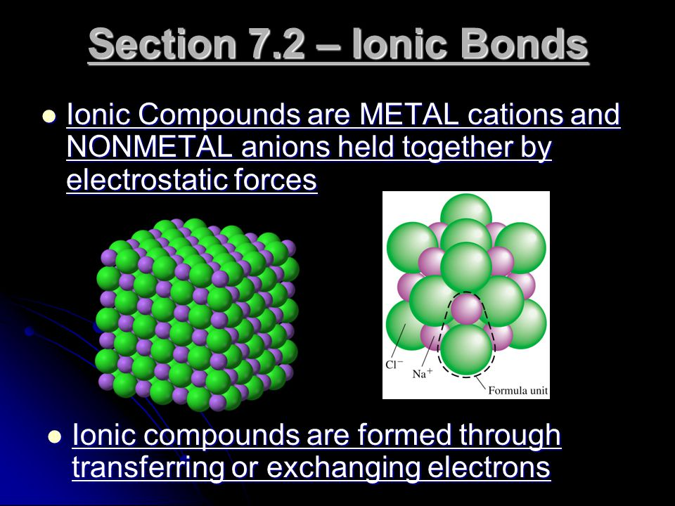 Section 7.2 – Ionic Bonds Ionic Compounds are METAL cations and NONMETAL anions held together by electrostatic forces.