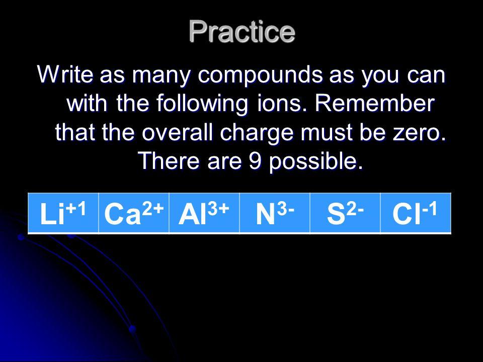 Practice Li+1 Ca2+ Al3+ N3- S2- Cl-1