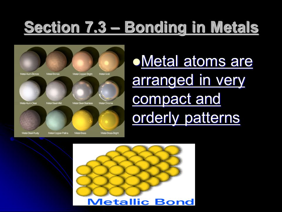 Section 7.3 – Bonding in Metals