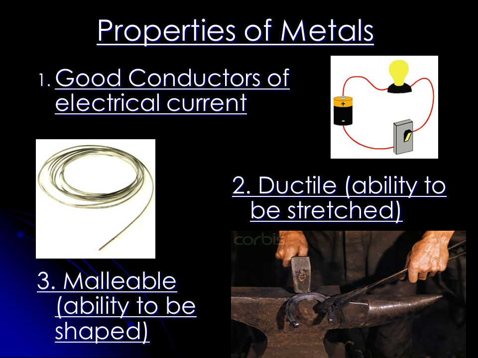 Properties of Metals Good Conductors of electrical current