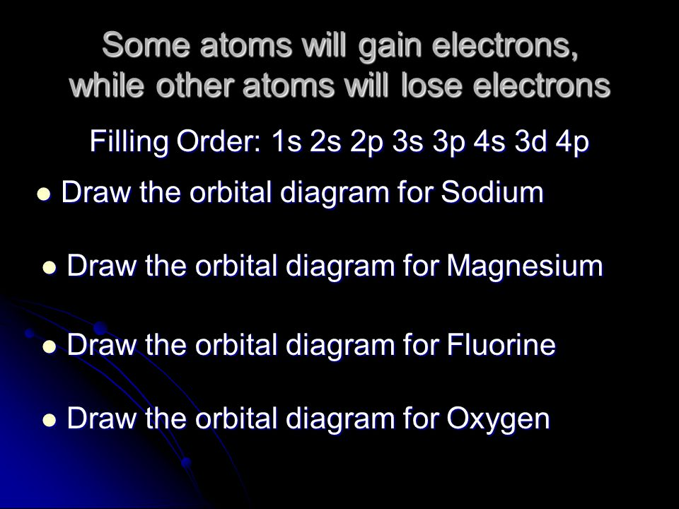 Some atoms will gain electrons, while other atoms will lose electrons