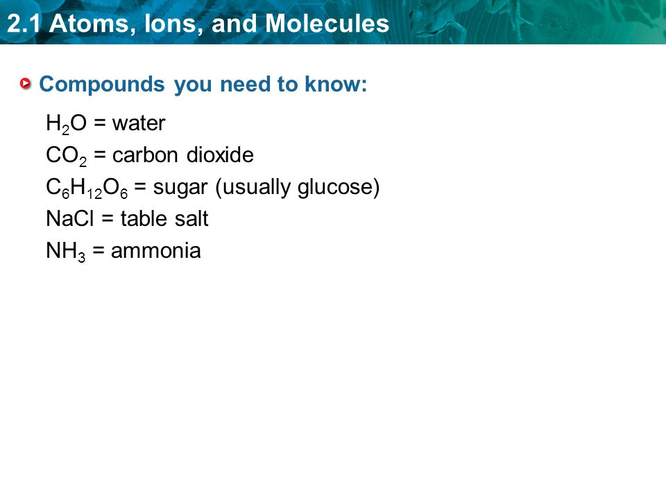 Compounds you need to know: