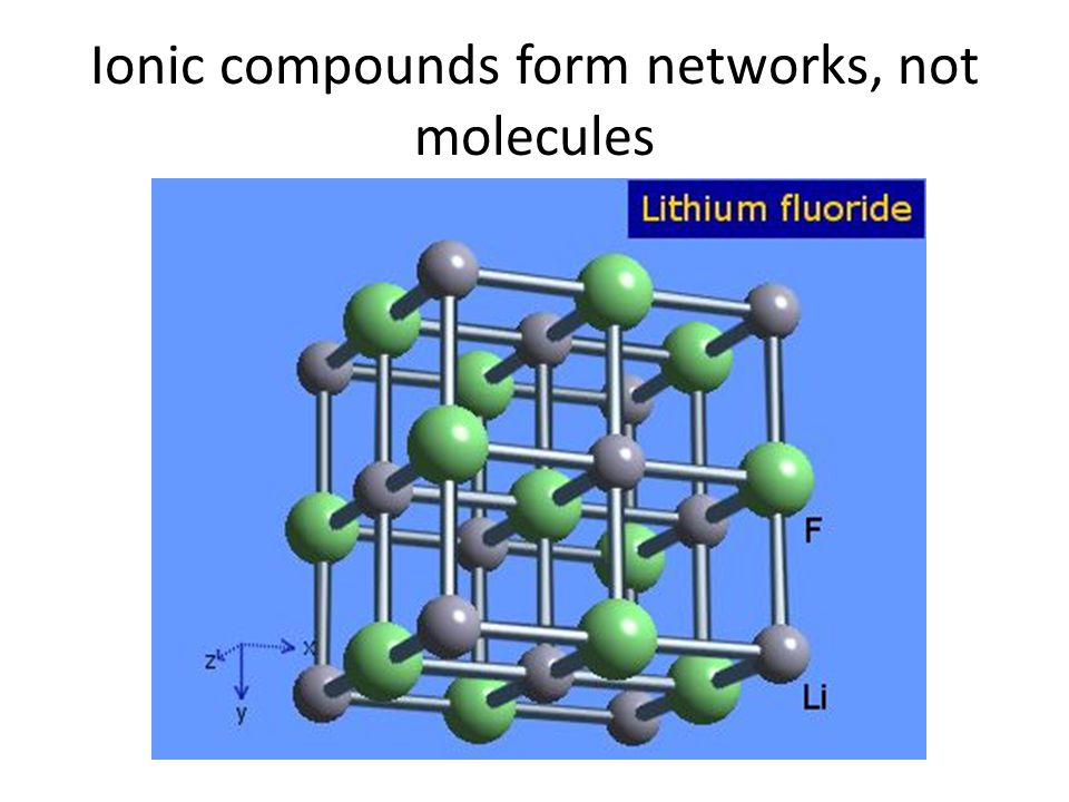 Ionic compounds form networks, not molecules