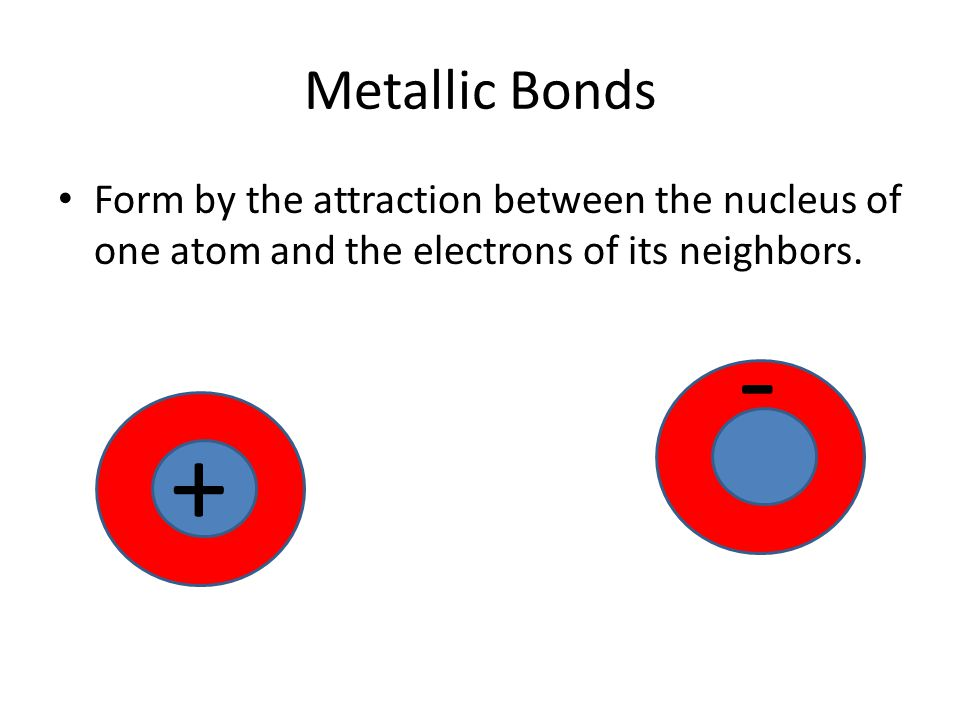 Metallic Bonds Form by the attraction between the nucleus of one atom and the electrons of its neighbors.