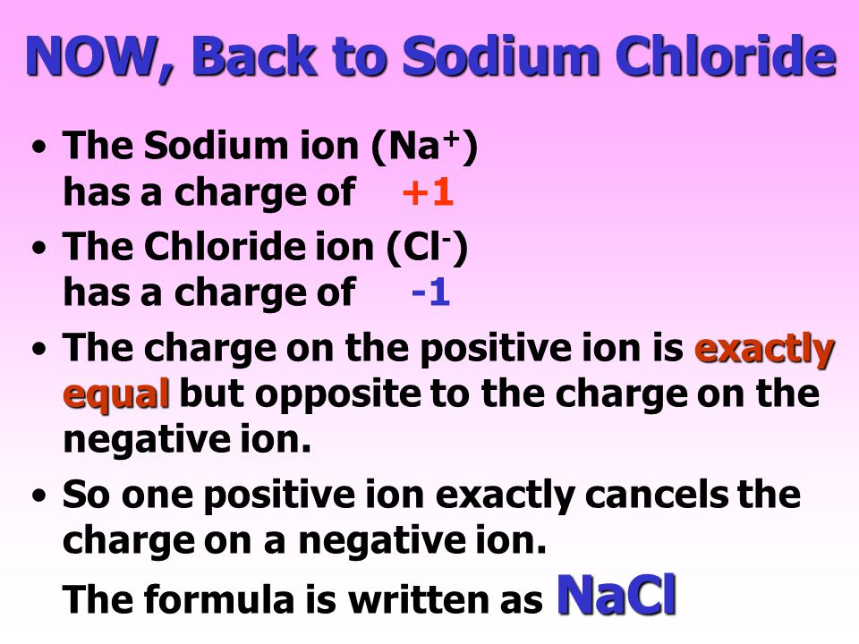 NOW, Back to Sodium Chloride