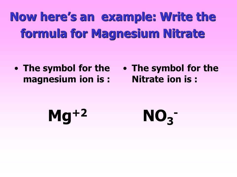 Now here's an example: Write the formula for Magnesium Nitrate