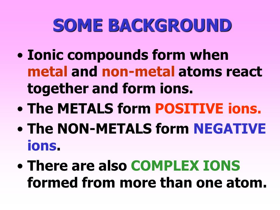 SOME BACKGROUND Ionic compounds form when metal and non-metal atoms react together and form ions. The METALS form POSITIVE ions.
