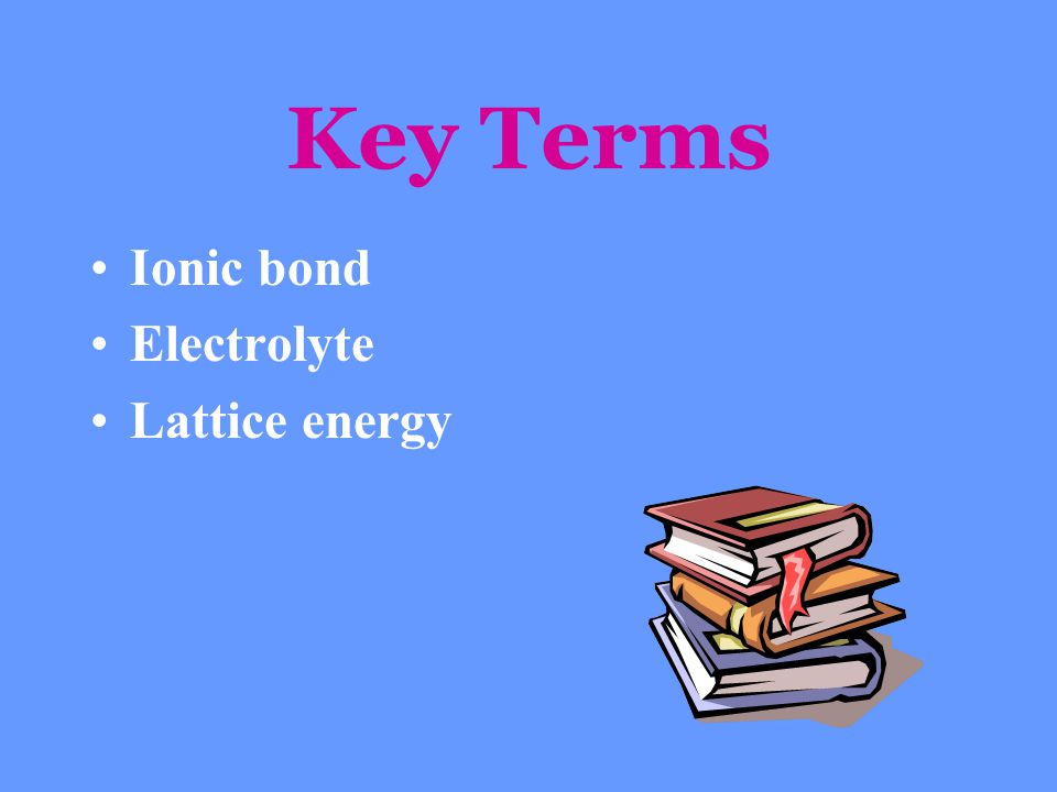 Key Terms Ionic bond Electrolyte Lattice energy