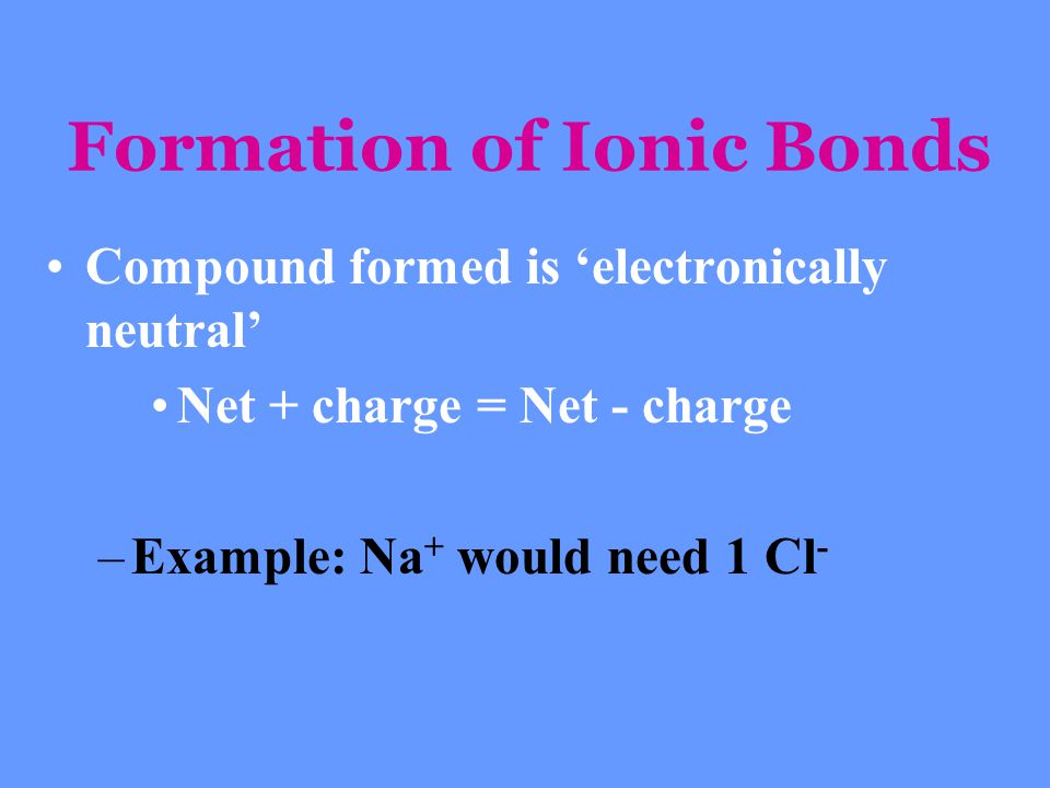Formation of Ionic Bonds