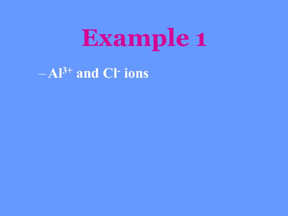 Example 1 Al3+ and Cl- ions