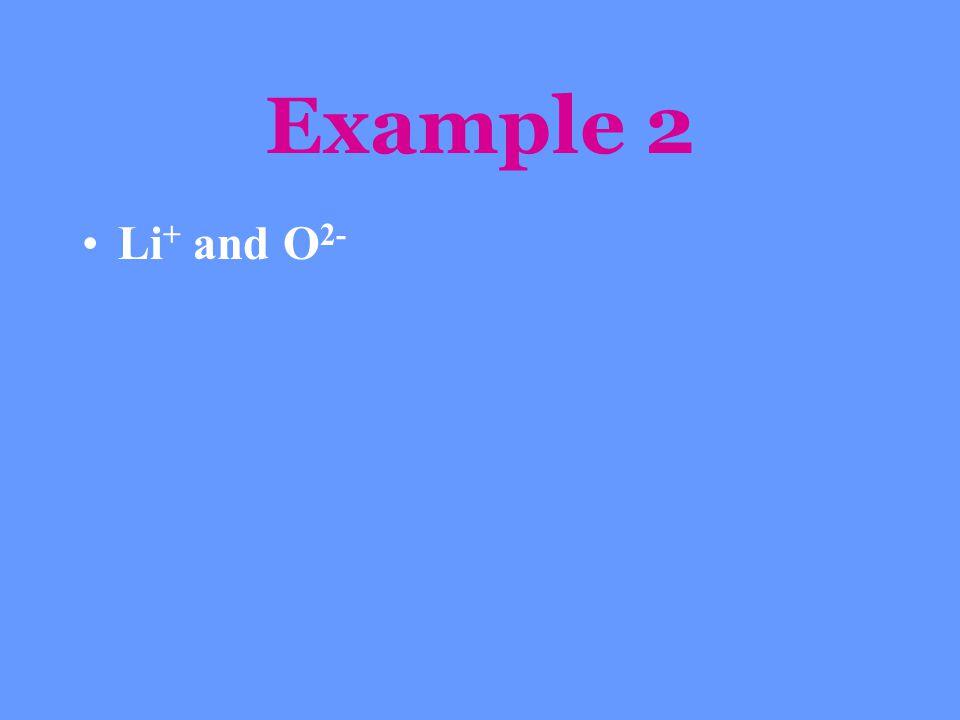 Example 2 Li+ and O2-