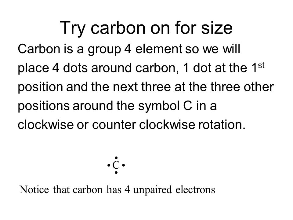 Try carbon on for size Carbon is a group 4 element so we will
