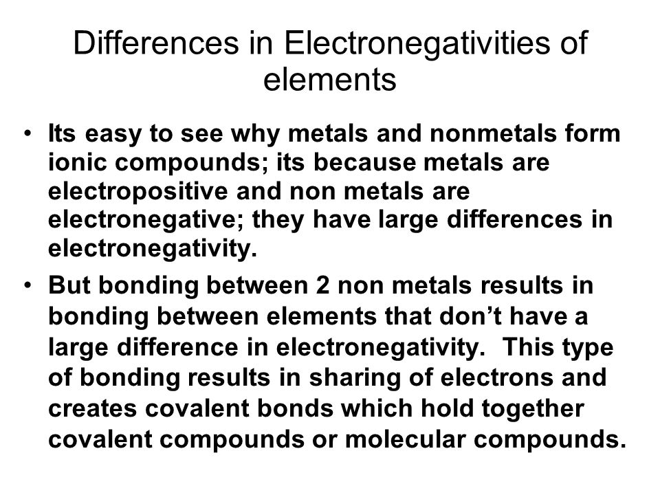 Differences in Electronegativities of elements