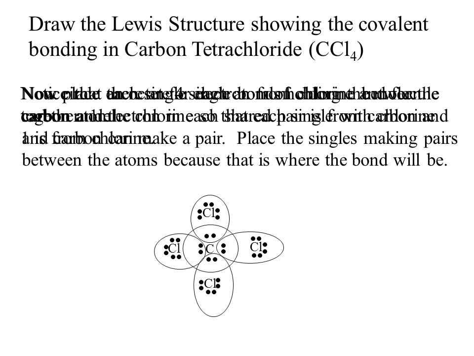 Draw the Lewis Structure showing the covalent bonding in Carbon Tetrachloride (CCl4)