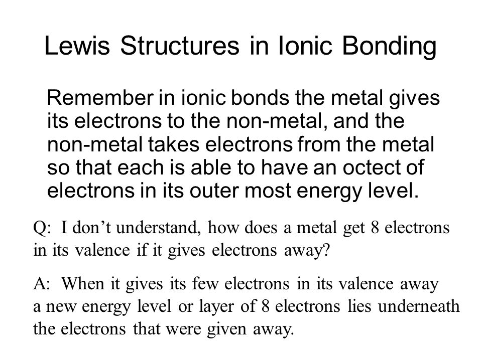 Lewis Structures in Ionic Bonding