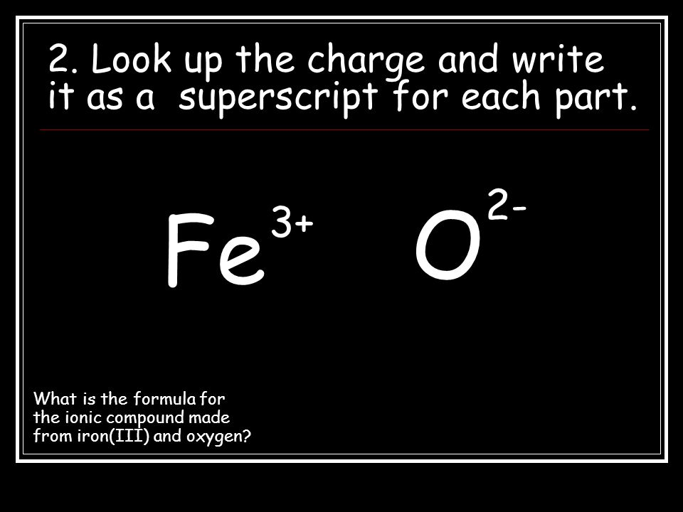 2. Look up the charge and write it as a superscript for each part.