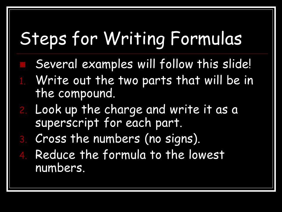 Steps for Writing Formulas
