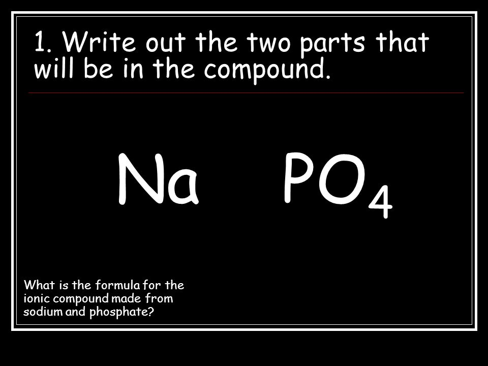 1. Write out the two parts that will be in the compound.