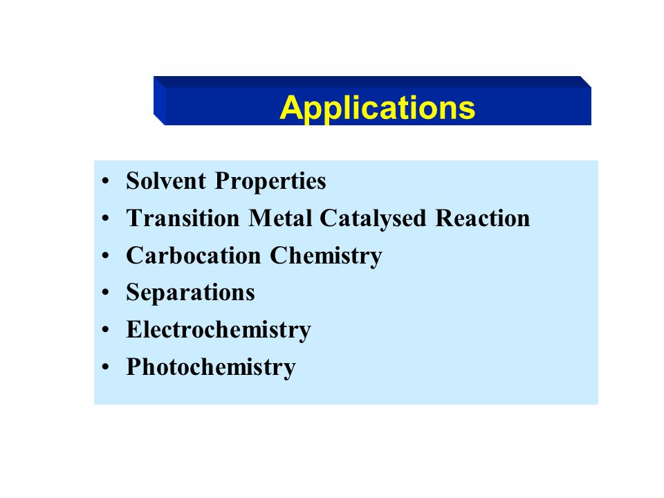 Applications Solvent Properties Transition Metal Catalysed Reaction