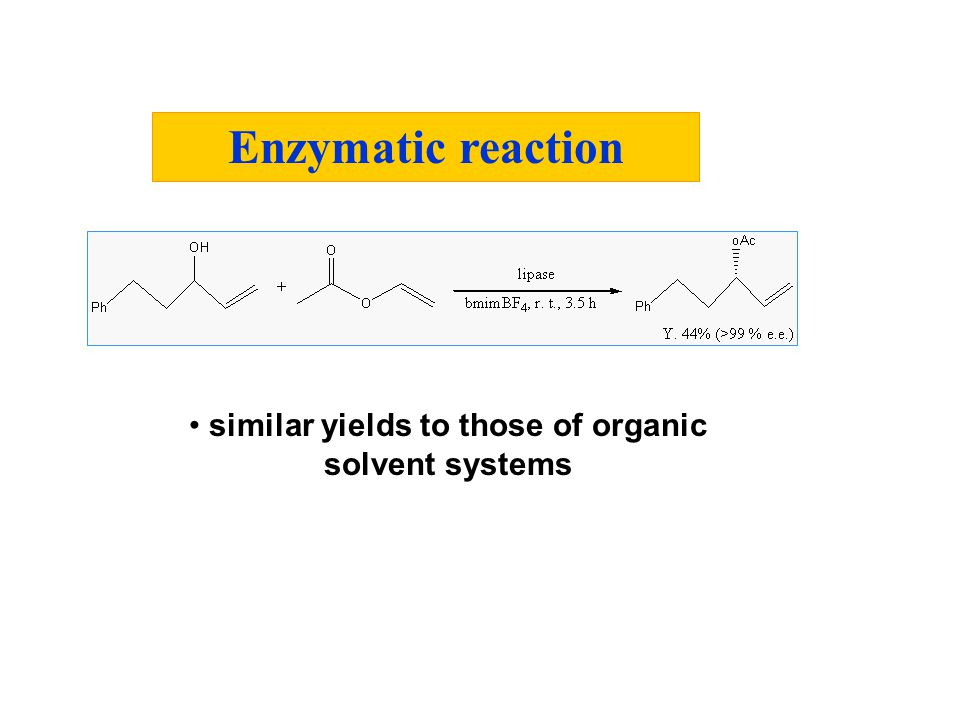 similar yields to those of organic solvent systems