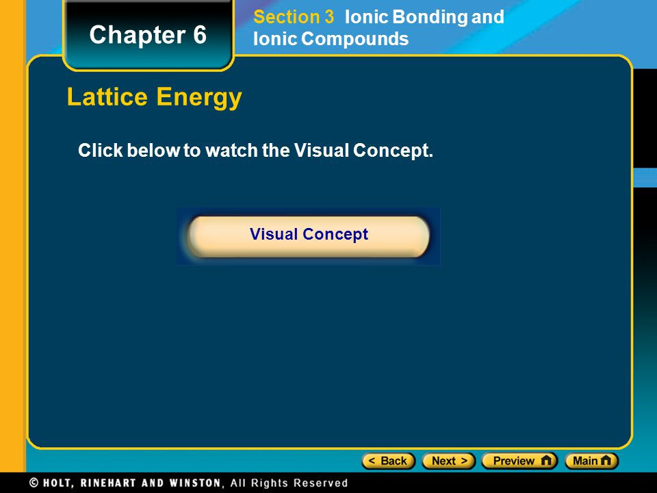 Chapter 6 Lattice Energy Section 3 Ionic Bonding and Ionic Compounds