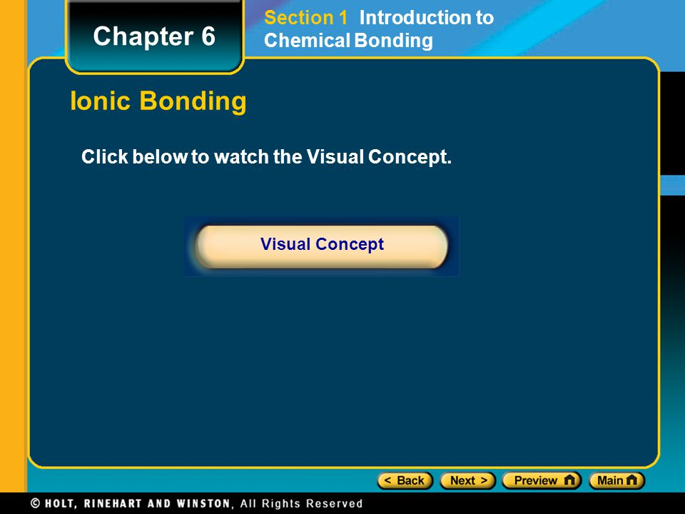 Chapter 6 Ionic Bonding Section 1 Introduction to Chemical Bonding