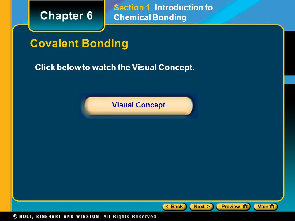 Chapter 6 Covalent Bonding Section 1 Introduction to Chemical Bonding