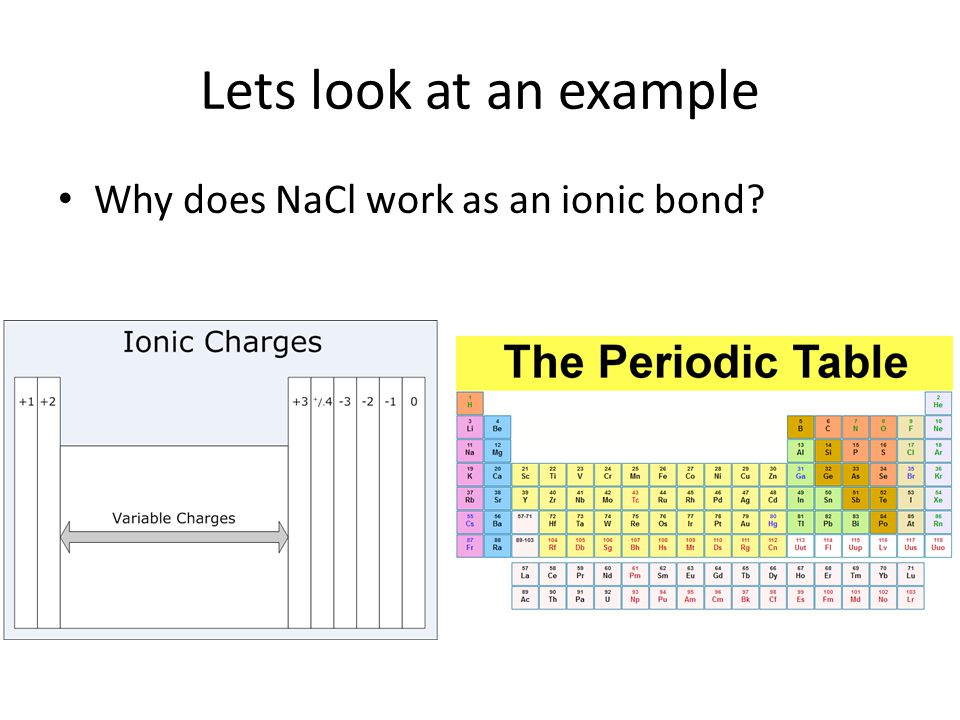 Lets look at an example Why does NaCl work as an ionic bond