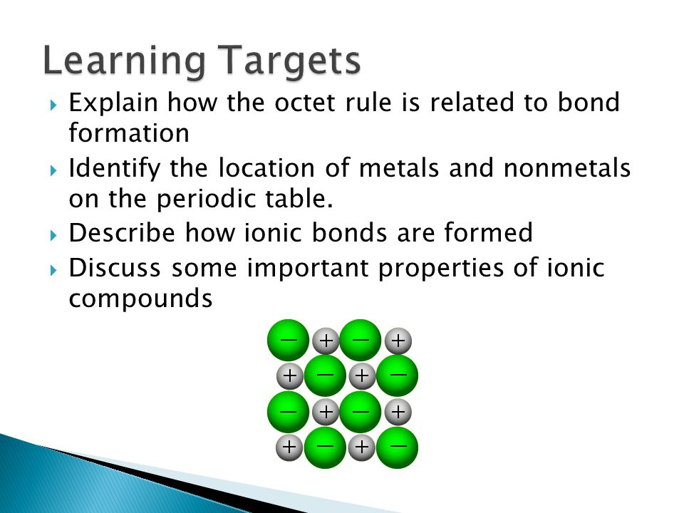 Learning Targets Explain how the octet rule is related to bond formation. Identify the location of metals and nonmetals on the periodic table.