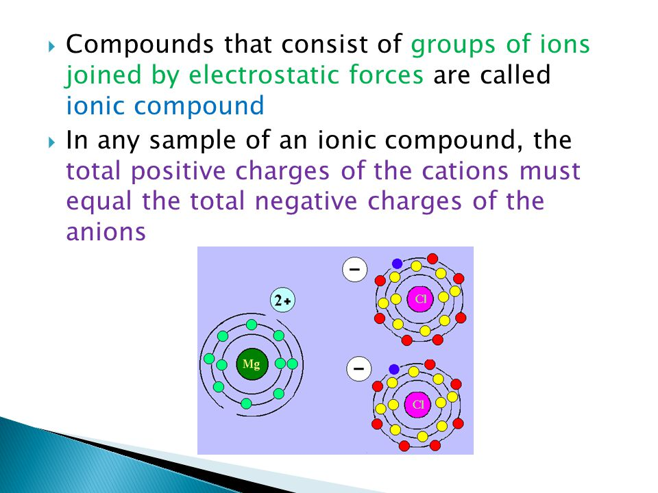 Compounds that consist of groups of ions joined by electrostatic forces are called ionic compound