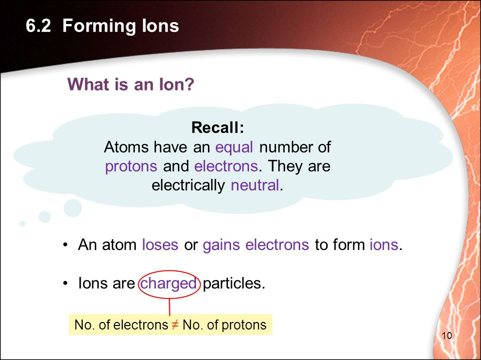 No. of electrons ≠ No. of protons