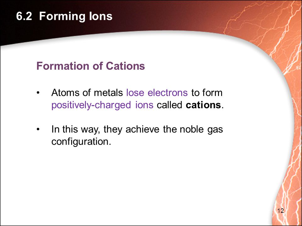 6.2 Forming Ions Formation of Cations