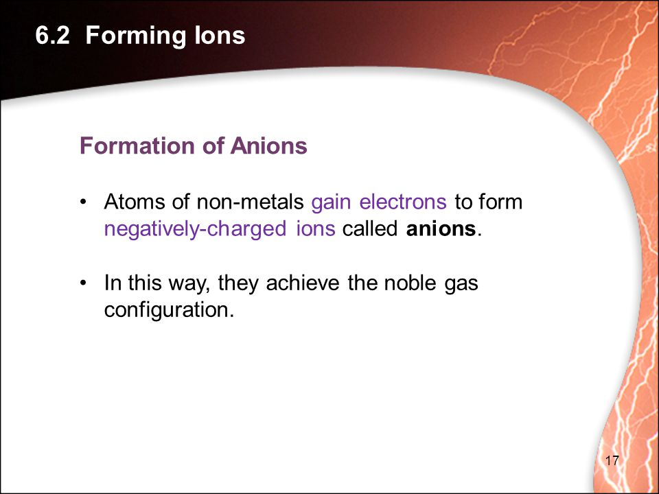 6.2 Forming Ions Formation of Anions