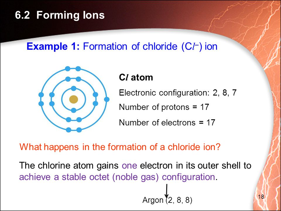 6.2 Forming Ions Example 1: Formation of chloride (Cl–) ion Cl atom