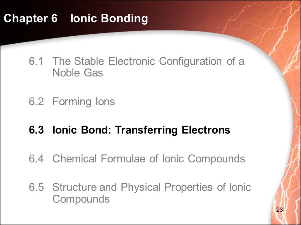 Chapter 6 Ionic Bonding 6.1 The Stable Electronic Configuration of a Noble Gas. 6.2 Forming Ions.