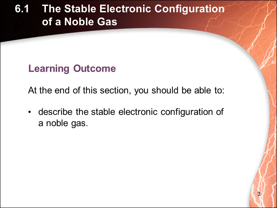 6.1 The Stable Electronic Configuration of a Noble Gas